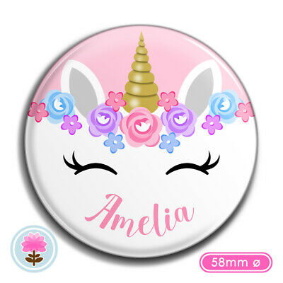 Personalised UNICORN Girl's POCKET MIRROR 58mm Wedding/Hen/Birthday Favour/Gift