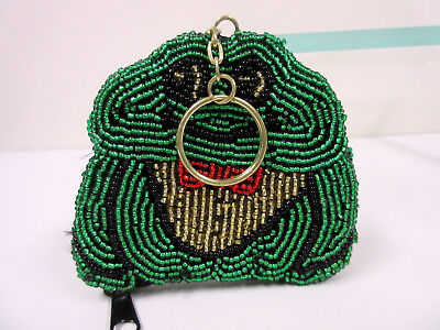 New Frog Beaded Coin Purse With Key Ring Frogs
