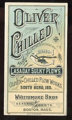 South Bend IN Boston MA Oliver Chilled Plow Works  2 Panel Folding Trade Card!!