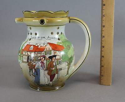 Antique Burleighware Burslem, Sally In Our Alley Puzzle Jug Pitcher Mug NR
