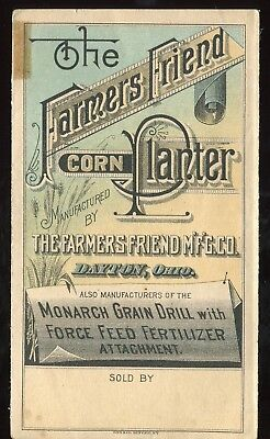 Dayton OH Farmers Friend Mfg Co Corn Planter 3 Panel Fold Victorian Trade Card!