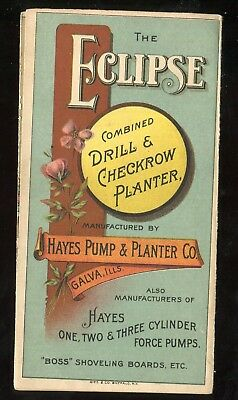 Galva IL Hayes Pump & Planter Co Eclipse Drill Planter 3 Panel Fold Trade Card!