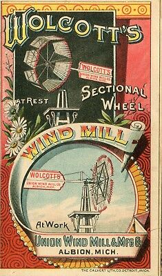 Albion MI Union Wind Mill Mfg Co Wolcotts Wind Mill 4 Panel Fold Vict Trade Card