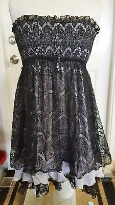 Cecico Black Sexy Lace Tube Mini Dress w/ Dangle Charms! Lined, chiffon ruffle,L