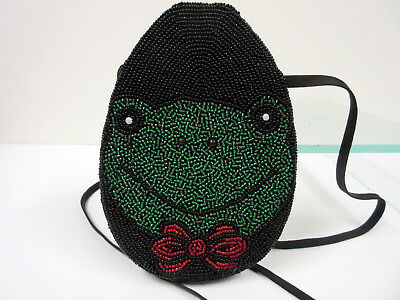 New Frog Beaded With Red Bow Handbag Purse Shoulder Bag Frogs