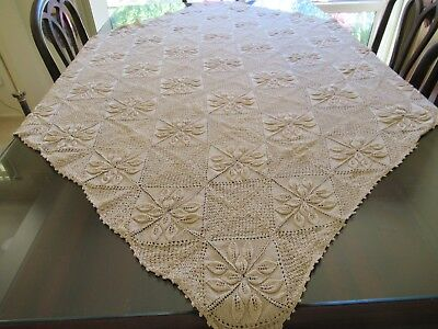 Vintage square HAND-CROCHETED TABLECLOTH ecru fine cotton Textured Surface