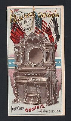 SCARCE 1893 Columbian Exposition Trade Card Folder  Packard Organ Ft Wayne IN