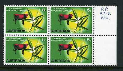 Australia 1970 Grasslands - Block of 4 with Variety - MUH