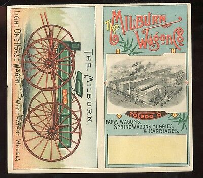 Toledo OH Milburn Wagon Co The Milburn Light One Horse Wagon 4 Panel Trade Card!