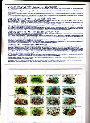 CHRISTMAS ISLAND 1987. Wildlife Folder with Sheetlet of 16 Stamps. MUH. MNH.