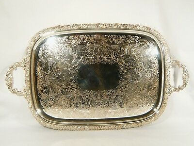 BARKER ELLIS HEAVY Silver Plate 27 1/4 x 16 1/4 TRAY Wide Floral  Border No MONO
