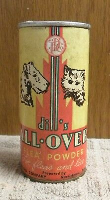 Vintage Dill's ALL-OVER Dog & Cat Flea Powder Tin Can Norristown, PA.