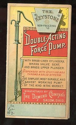 Salem OH Deming Co Double Acting Force Pump Keystone 2 Panel Folding Trade Card!