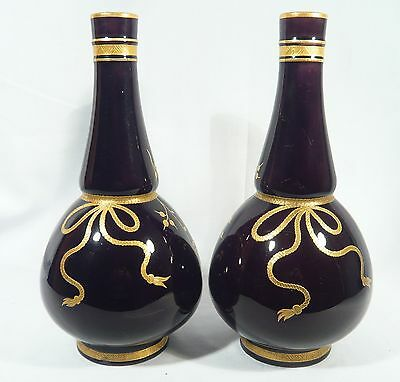 ANTIQUE MINTON 1873  Pair of  Deep RICH PURPLE Ground VASES URNS Gilt Bows
