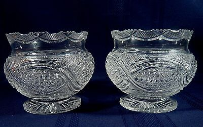 """ANTIQUE Pair ANGLO-IRISH Brilliant Cut CRYSTAL 5 """" Footed GLASS Bowls c 1880"""