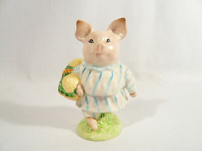 BP2a  Beatrix Potter Figurine Beswick LITTLE PIG ROBINSON 1st Variatio Gold Oval