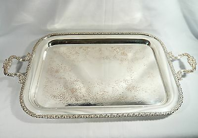 Large Antique ELLIS BARKER SILVER Plate TRAY 25 3/4 inch by 15 1/8  Pineapple