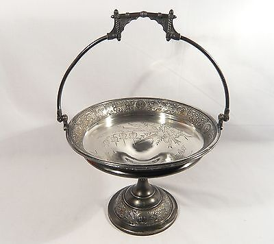 Antique REED & BARTON Silver Plate Compote BASKET Boxer Afghan Greyhound DOGS
