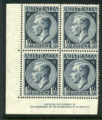 Australia 1952 GVI 1/0 1/2d - Imprint Block of 4 - Flush perfs - MUH/Mint
