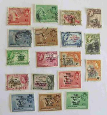Gold Coast / Ghana 1957 - 59 QE small collection (32 stamps)