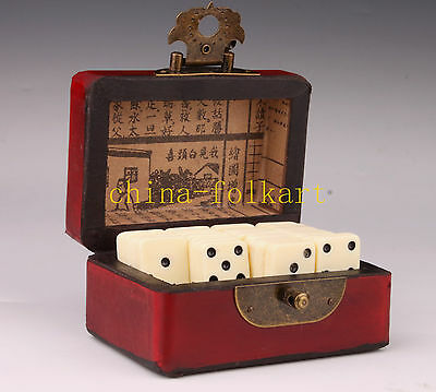 Old Red Leather Box Domino Statue Exquisite Magic Authentic Collection