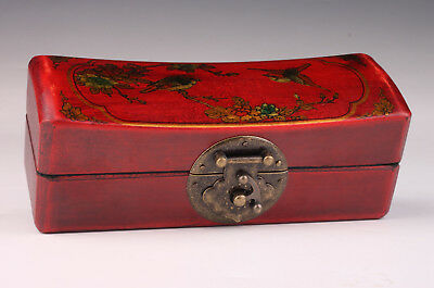 Red Leather Jewelry Box Flower Bird Craft Decorative Collection
