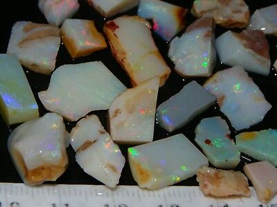 Nice Rough/Sliced Coober Pedy Opal Parcel 105cts Some Fires, Multicolours NR lot