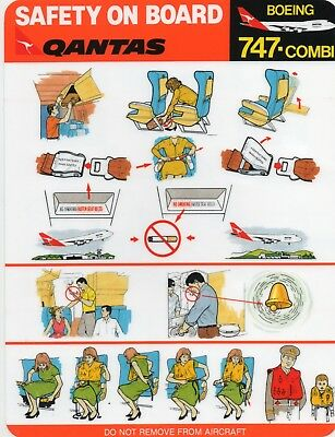 Qantas Boeing 747-Combi Safety On Board Card