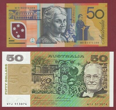 AUSTRALIAN BANKNOTES  LAST PAPER $50 & 1st POLYMER $50  CIRCULATION ISSUES UNC