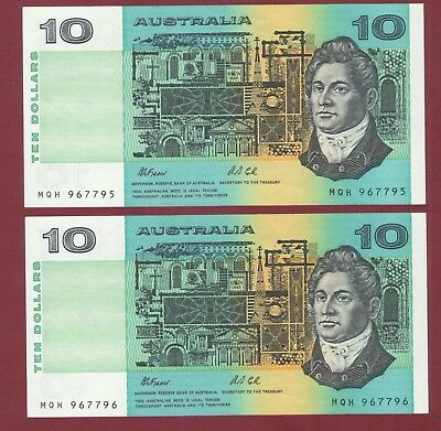 AUSTRALIA BANKNOTE 1991 FRASER / COLE $10 CONSEC PAIR With repeater serials.