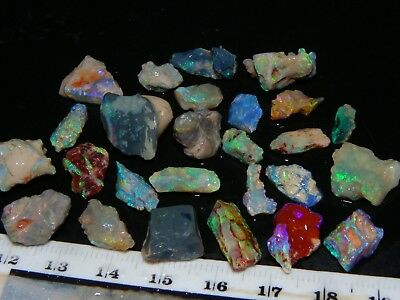 Nice Quality Fossil Opal Rough Parcel 77cts Blue/Green Crystal, Sand/Inclusions