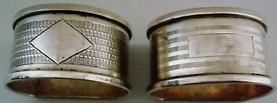 Vintage Pr Of Solid Silver Napkin Rings   Birm 1938/39 By Henry Griffith & Sons