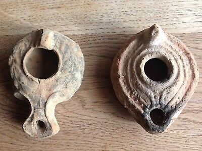 Two Roman or Greek pottery oil lamps, terracotta, antique