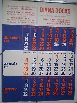 CALENDARIO 1981 DIANA DOCKS commercio cereali RAVENNA SAN PIETRO in CAMPIANO