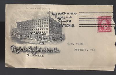 Illustrated cover Robert A. Johnston Co Milwaukee 1915 w/ perfin stamp franking