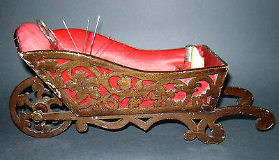ANTIQUE Old 19c Sewing Kit Box Cart Chariot Holder Pin cushion SCISSORS,THIMBLE