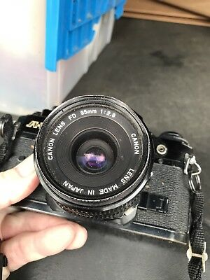 Vintage Canon A-1 35mm Camera W FD 35mm 2.8 Lens & Strap