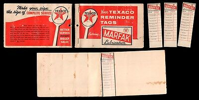 TEXACO MARFAK LUBRICATION Service Stickers Oil Change Reminder Tags Partial Book