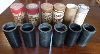 6 early Edison phonograph cylinder records (untitled)