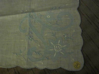 """Vintage """"All Linen"""" Blue & White Floral Handkerchief.Made in Hong Kong.Pretty!"""