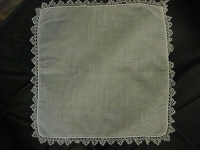 Gorgeous White Lace with Silver Embroidered Roses Vintage Handkerchief.Awesome!