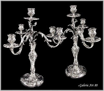 FEAU: Majestic Pair Antique French Sterling Silver Louis XV 4-light Candelabra