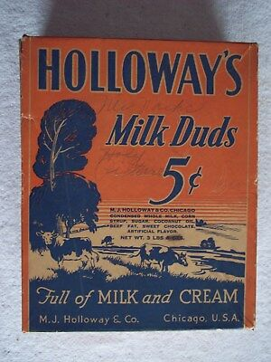 Vintage HOLLOWAYS MILK DUDS CANDY BOX 24 PACK Shelf Display Package empty 3 lb.