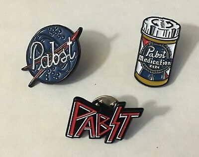 Pabst Blue Ribbon Beer PBR ART Program Limited Edition Pin Set of 3 NASA KISS