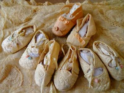 French Chateau Find ~ A Group Of Adorable Antique Baby Shoes