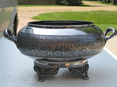 Large Antique Hartford Silver Plate Co. 2 Handled 4 Footed Ornate & Large Bowl