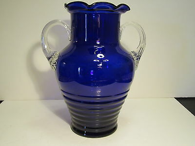 Large Vintage Cobalt Blue Swirled Diamond Notched Bottle Decanter