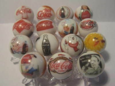 Coca Cola Soda Pop Glass Marbles 5/8 Size + stands