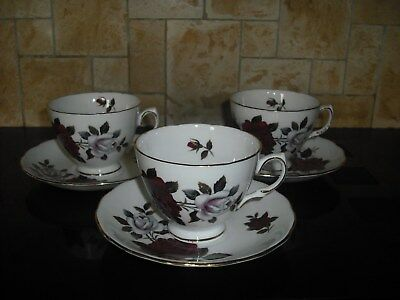 3 x Colclough Deep Red Rose Duos pattern 7906
