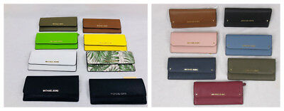 Michael Kors Hayes Or Jet Set Travel Leather Or Pvc Flat Wallet Various Colors